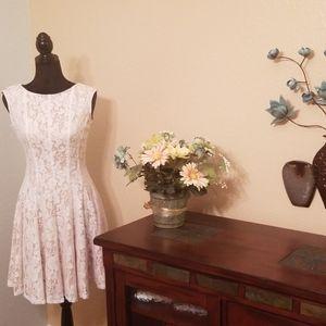 Danny & Nicole Ivory Overlay Fit & Flare Dress